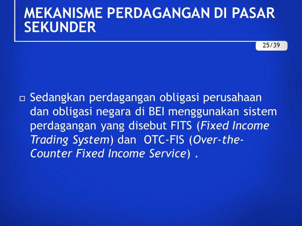  Sedangkan perdagangan obligasi perusahaan dan obligasi negara di BEI menggunakan sistem perdagangan yang disebut FITS (Fixed Income Trading System)