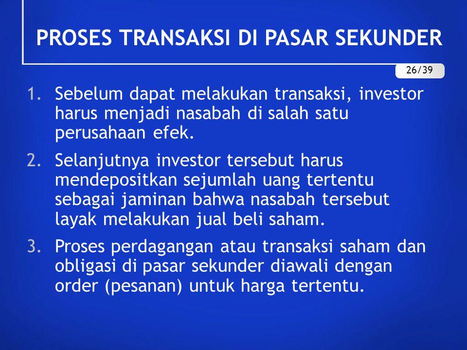PROSES TRANSAKSI DI PASAR SEKUNDER 1.Sebelum dapat melakukan transaksi, investor harus menjadi nasabah di salah satu perusahaan efek. 2.Selanjutnya in