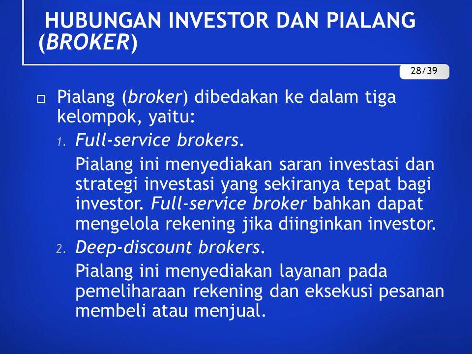 HUBUNGAN INVESTOR DAN PIALANG (BROKER)  Pialang (broker) dibedakan ke dalam tiga kelompok, yaitu: 1. Full-service brokers. Pialang ini menyediakan sa