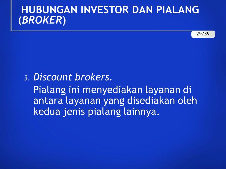 3. Discount brokers. Pialang ini menyediakan layanan di antara layanan yang disediakan oleh kedua jenis pialang lainnya. HUBUNGAN INVESTOR DAN PIALANG