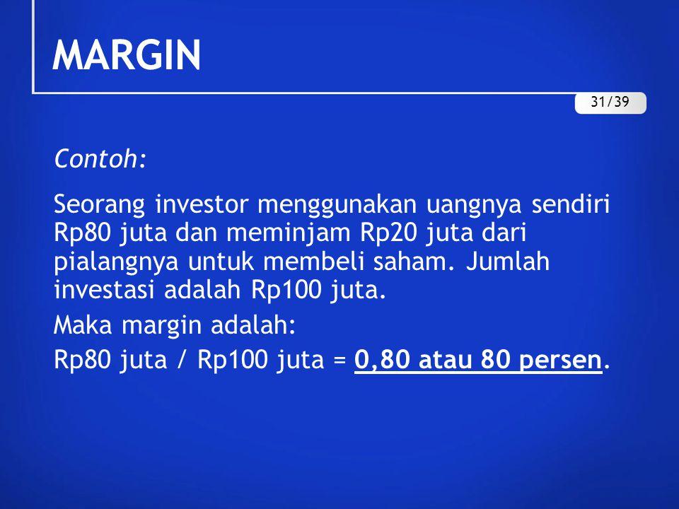Contoh: Seorang investor menggunakan uangnya sendiri Rp80 juta dan meminjam Rp20 juta dari pialangnya untuk membeli saham. Jumlah investasi adalah Rp1