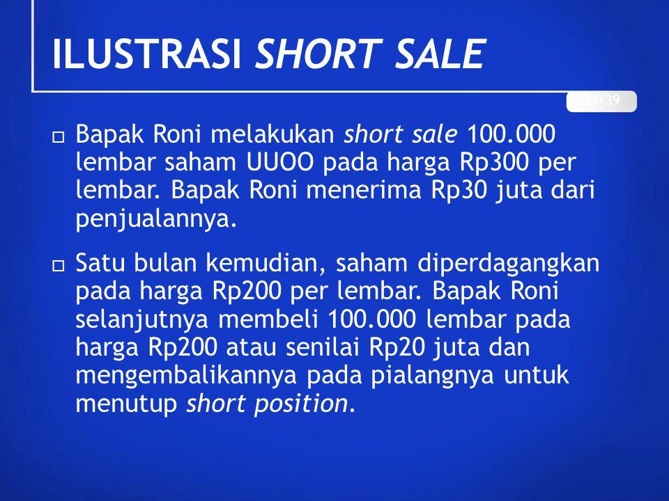 ILUSTRASI SHORT SALE  Bapak Roni melakukan short sale 100.000 lembar saham UUOO pada harga Rp300 per lembar. Bapak Roni menerima Rp30 juta dari penju