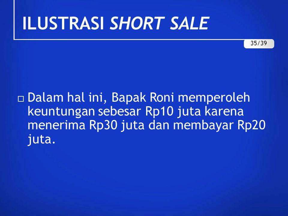  Dalam hal ini, Bapak Roni memperoleh keuntungan sebesar Rp10 juta karena menerima Rp30 juta dan membayar Rp20 juta. ILUSTRASI SHORT SALE 35/39
