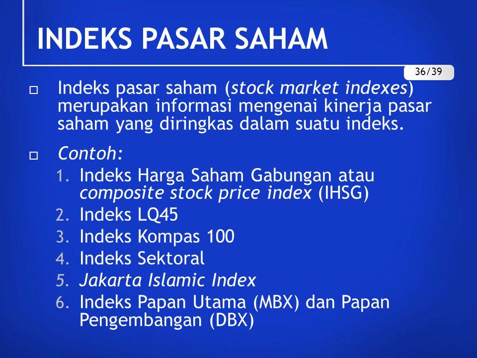 INDEKS PASAR SAHAM  Indeks pasar saham (stock market indexes) merupakan informasi mengenai kinerja pasar saham yang diringkas dalam suatu indeks.  C