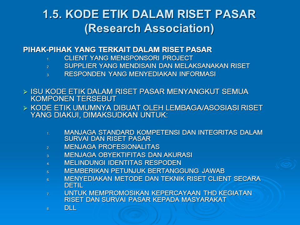 1.5. KODE ETIK DALAM RISET PASAR (Research Association) PIHAK-PIHAK YANG TERKAIT DALAM RISET PASAR 1. CLIENT YANG MENSPONSORI PROJECT 2. SUPPLIER YANG