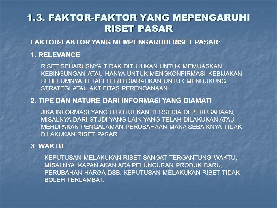 1.3. FAKTOR-FAKTOR YANG MEPENGARUHI RISET PASAR FAKTOR-FAKTOR YANG MEMPENGARUHI RISET PASAR: 1. RELEVANCE RISET SEHARUSNYA TIDAK DITUJUKAN UNTUK MEMUA