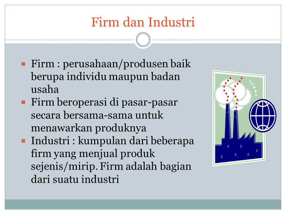 Firm dan Industri  Firm : perusahaan/produsen baik berupa individu maupun badan usaha  Firm beroperasi di pasar-pasar secara bersama-sama untuk mena