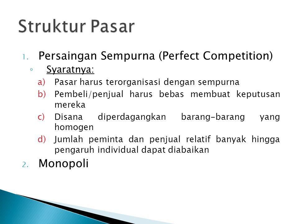 1. Persaingan Sempurna (Perfect Competition) ◦ Syaratnya: a)Pasar harus terorganisasi dengan sempurna b)Pembeli/penjual harus bebas membuat keputusan