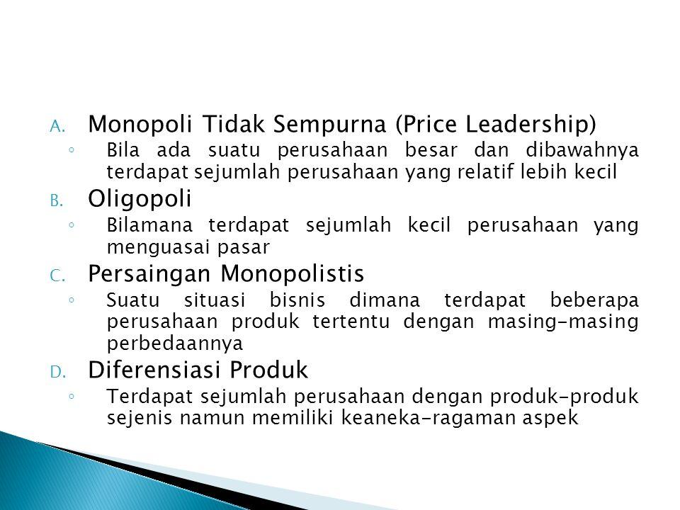 A. Monopoli Tidak Sempurna (Price Leadership) ◦ Bila ada suatu perusahaan besar dan dibawahnya terdapat sejumlah perusahaan yang relatif lebih kecil B