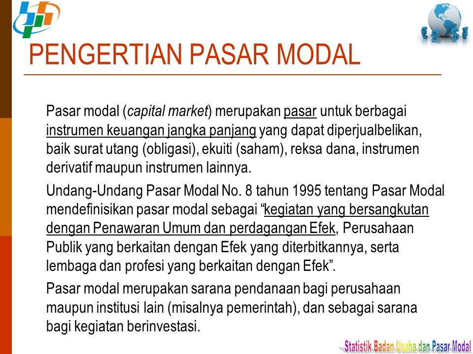 PENGERTIAN PASAR MODAL Pasar modal ( capital market ) merupakan pasar untuk berbagai instrumen keuangan jangka panjang yang dapat diperjualbelikan, ba