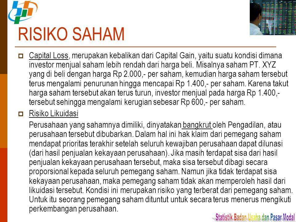 RISIKO SAHAM  Capital Loss, merupakan kebalikan dari Capital Gain, yaitu suatu kondisi dimana investor menjual saham lebih rendah dari harga beli. Mi