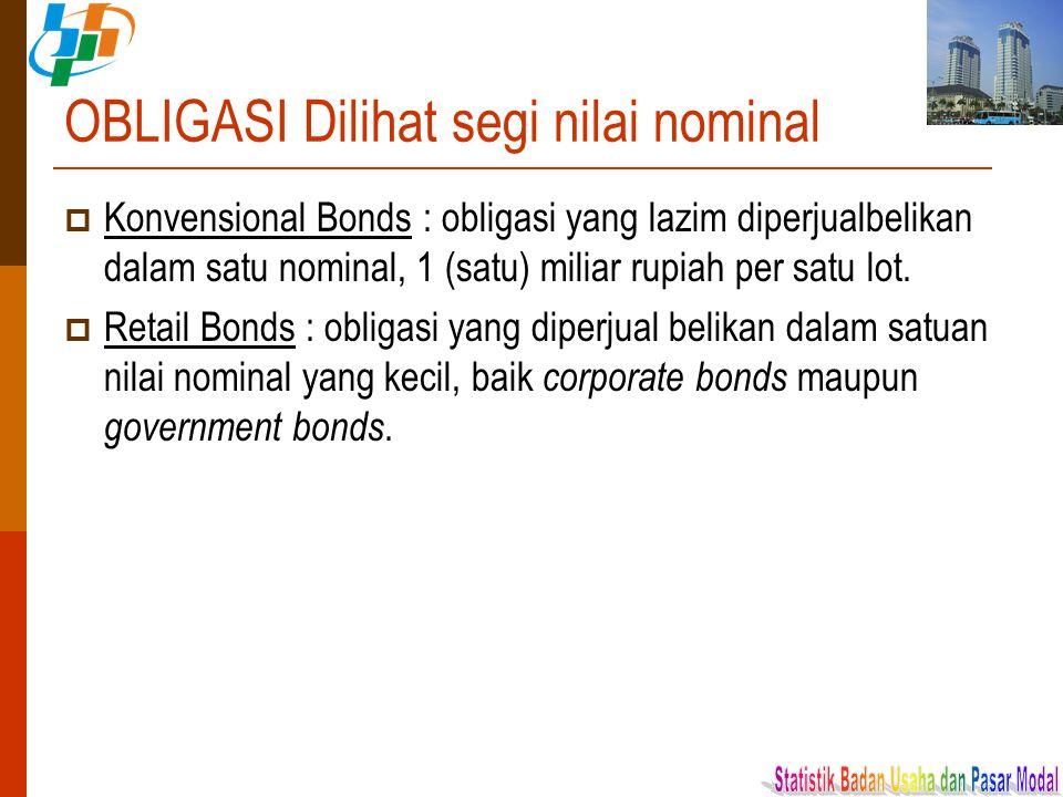 OBLIGASI Dilihat segi nilai nominal  Konvensional Bonds : obligasi yang lazim diperjualbelikan dalam satu nominal, 1 (satu) miliar rupiah per satu lo