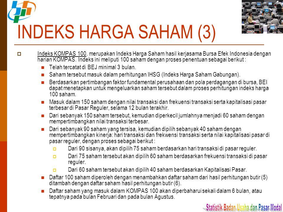 INDEKS HARGA SAHAM (3)  Indeks KOMPAS 100. merupakan Indeks Harga Saham hasil kerjasama Bursa Efek Indonesia dengan harian KOMPAS. Indeks ini meliput