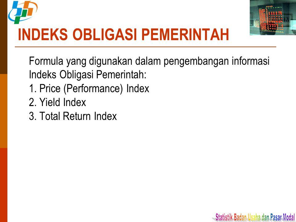 INDEKS OBLIGASI PEMERINTAH Formula yang digunakan dalam pengembangan informasi Indeks Obligasi Pemerintah: 1. Price (Performance) Index 2. Yield Index