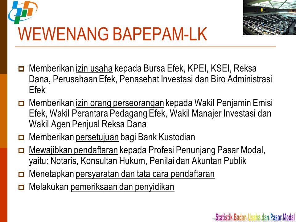 WEWENANG BAPEPAM-LK  Memberikan izin usaha kepada Bursa Efek, KPEI, KSEI, Reksa Dana, Perusahaan Efek, Penasehat Investasi dan Biro Administrasi Efek
