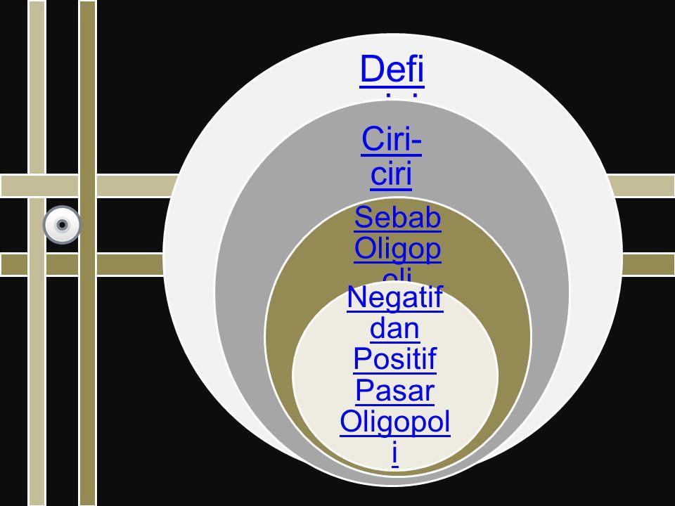 Defi nisi Ciri- ciri Sebab Oligop oli Negatif dan Positif Pasar Oligopol i