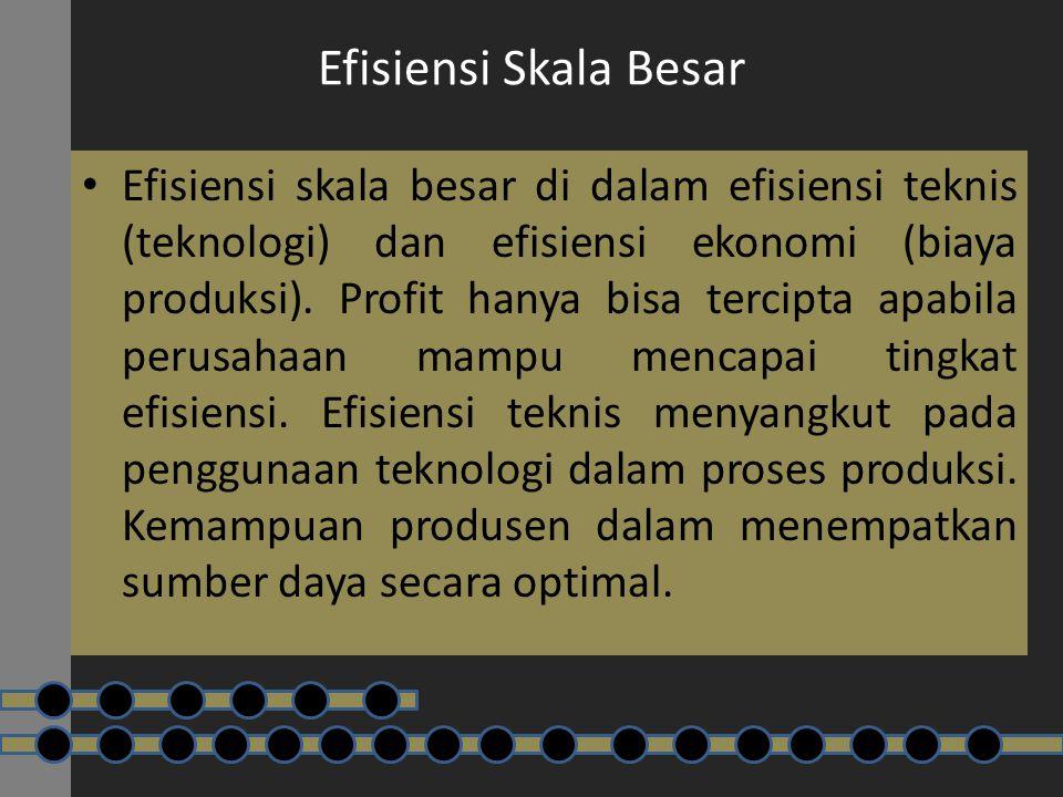 Efisiensi Skala Besar Efisiensi skala besar di dalam efisiensi teknis (teknologi) dan efisiensi ekonomi (biaya produksi). Profit hanya bisa tercipta a