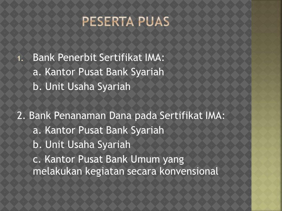 1. Bank Penerbit Sertifikat IMA: a. Kantor Pusat Bank Syariah b. Unit Usaha Syariah 2. Bank Penanaman Dana pada Sertifikat IMA: a. Kantor Pusat Bank S
