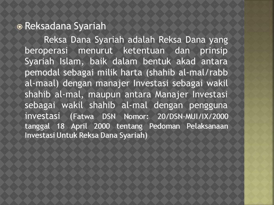  Reksadana Syariah Reksa Dana Syariah adalah Reksa Dana yang beroperasi menurut ketentuan dan prinsip Syariah Islam, baik dalam bentuk akad antara pe