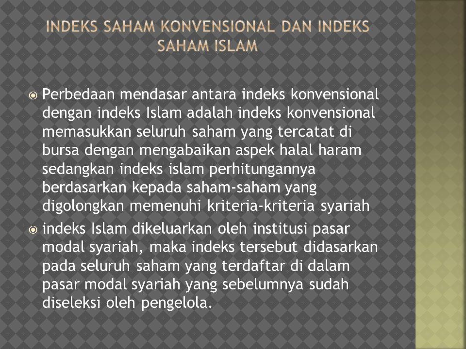  Perbedaan mendasar antara indeks konvensional dengan indeks Islam adalah indeks konvensional memasukkan seluruh saham yang tercatat di bursa dengan