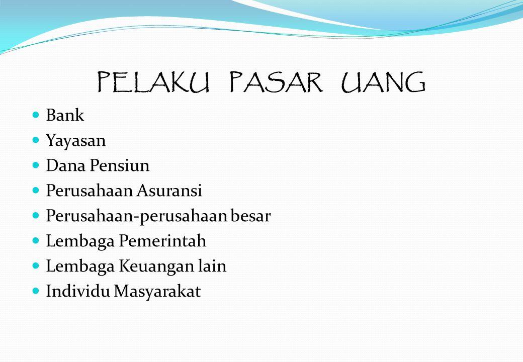 PELAKU PASAR UANG Bank Yayasan Dana Pensiun Perusahaan Asuransi Perusahaan-perusahaan besar Lembaga Pemerintah Lembaga Keuangan lain Individu Masyarakat