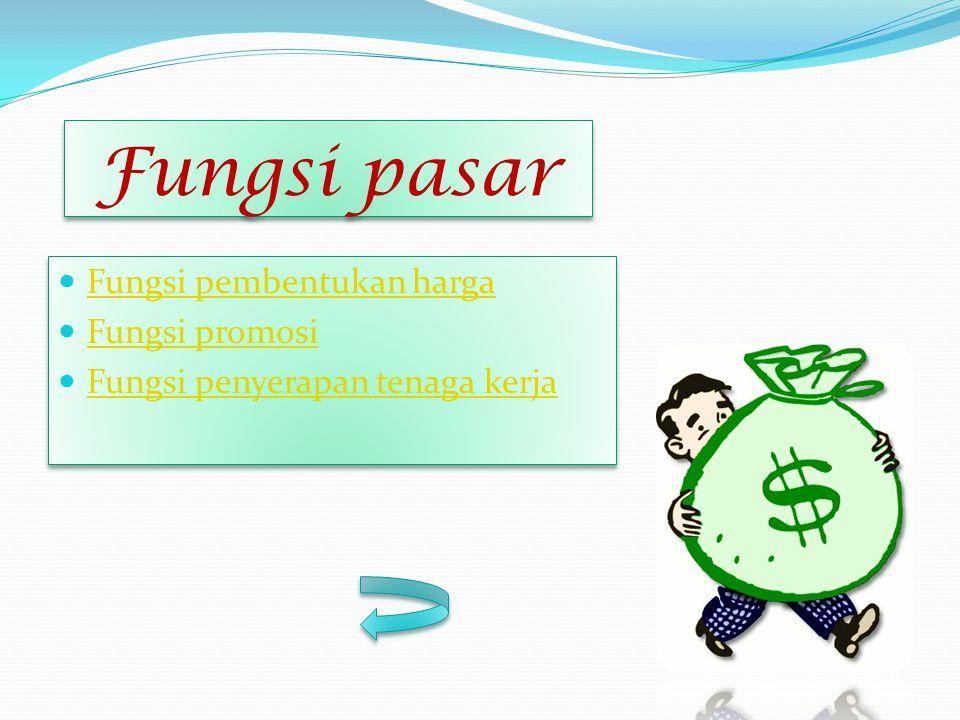 Fungsi pasar Fungsi pembentukan harga Fungsi promosi Fungsi penyerapan tenaga kerja Fungsi pembentukan harga Fungsi promosi Fungsi penyerapan tenaga k