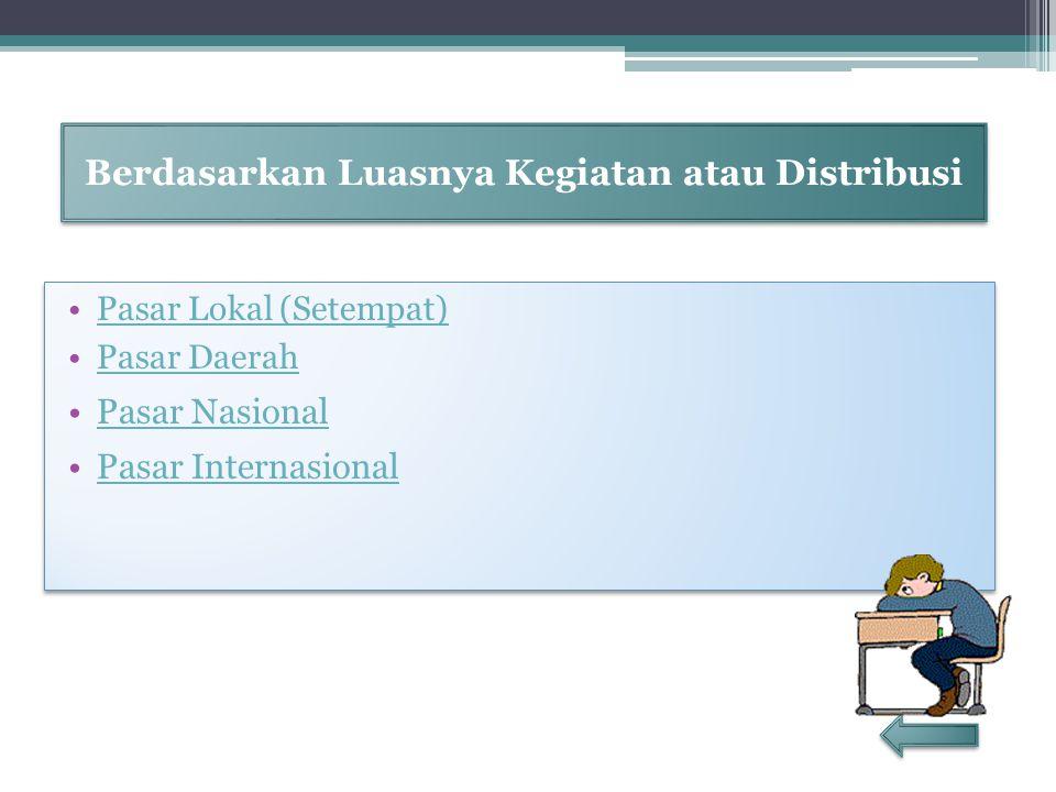 Berdasarkan Luasnya Kegiatan atau Distribusi Pasar Lokal (Setempat) Pasar Daerah Pasar Nasional Pasar Internasional Pasar Lokal (Setempat) Pasar Daera