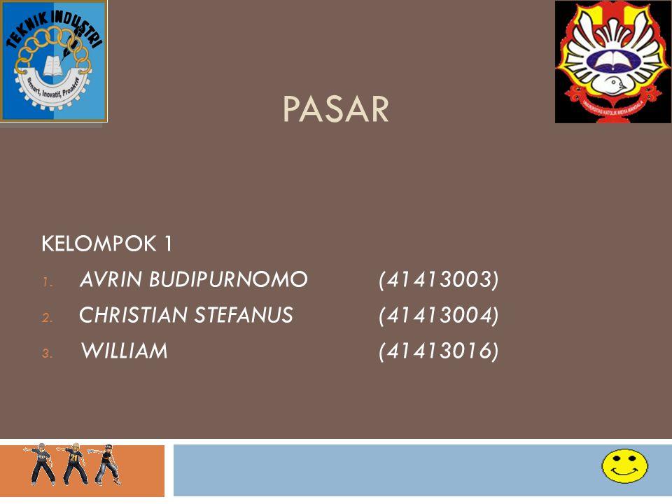 PASAR KELOMPOK 1 1. AVRIN BUDIPURNOMO (41413003) 2. CHRISTIAN STEFANUS(41413004) 3. WILLIAM(41413016) 1