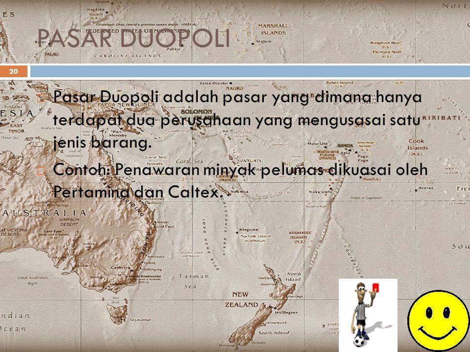 PASAR DUOPOLI 20  Pasar Duopoli adalah pasar yang dimana hanya terdapat dua perusahaan yang mengusasai satu jenis barang.  Contoh: Penawaran minyak