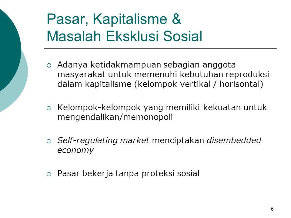 Pasar Kerja dan Eksklusi Sosial  Eksklusi terjadi sebagai akibat langsung dari kebijakan  Eksklusi terjadi sebagai dampak dari relasi sosial di dalam masyarakat.