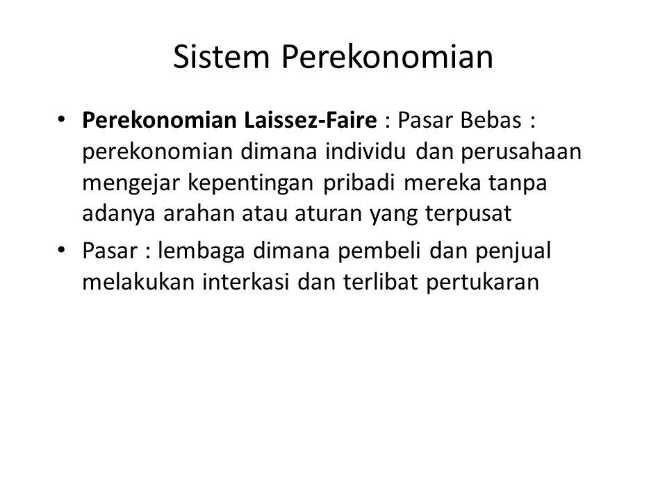 Perekonomian Laissez-Faire : Pasar Bebas : perekonomian dimana individu dan perusahaan mengejar kepentingan pribadi mereka tanpa adanya arahan atau at