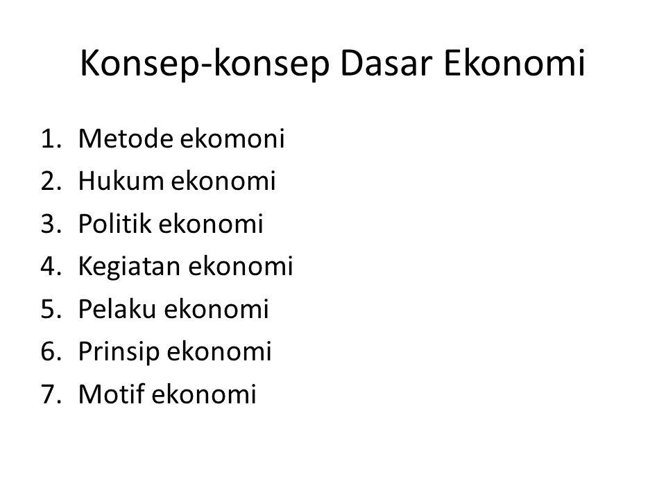 Konsep-konsep Dasar Ekonomi 1.Metode ekomoni 2.Hukum ekonomi 3.Politik ekonomi 4.Kegiatan ekonomi 5.Pelaku ekonomi 6.Prinsip ekonomi 7.Motif ekonomi