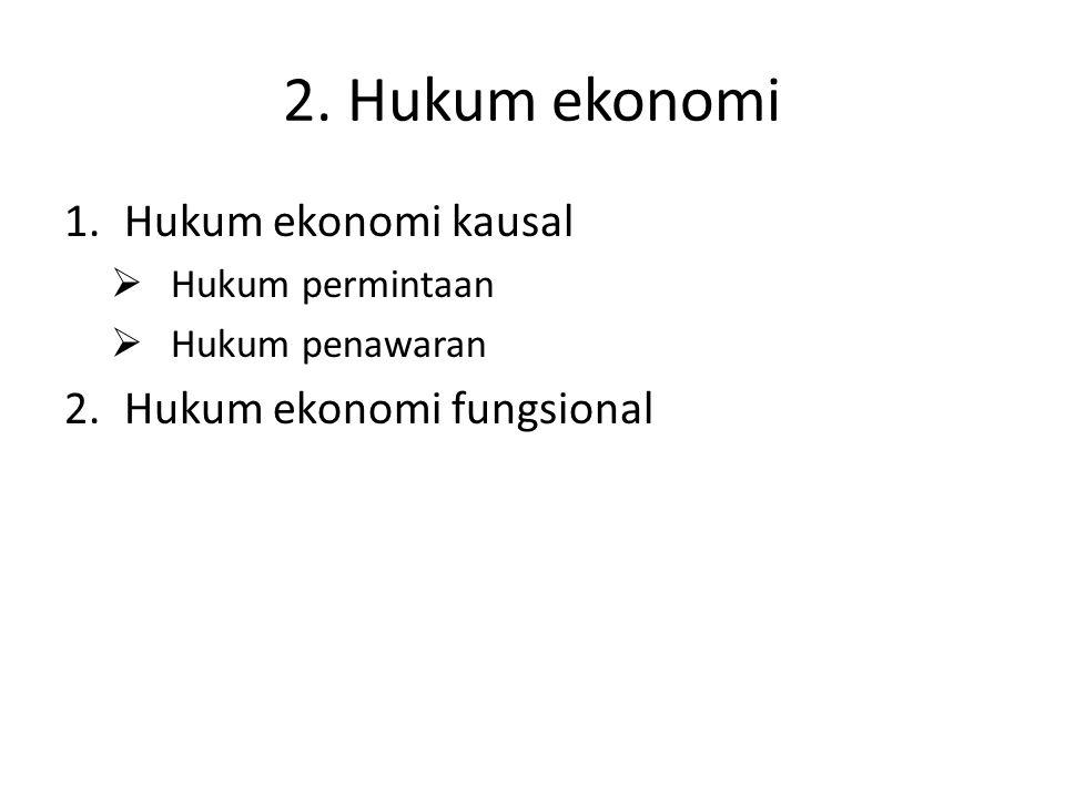 2. Hukum ekonomi 1.Hukum ekonomi kausal  Hukum permintaan  Hukum penawaran 2.Hukum ekonomi fungsional