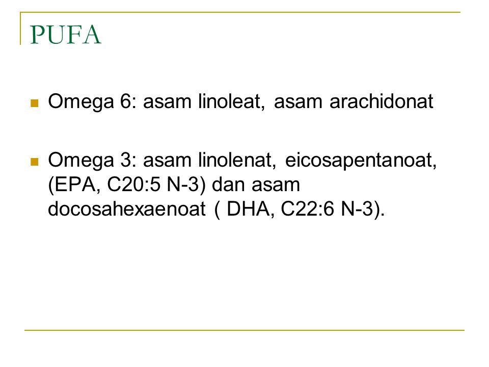 PUFA Omega 6: asam linoleat, asam arachidonat Omega 3: asam linolenat, eicosapentanoat, (EPA, C20:5 N-3) dan asam docosahexaenoat ( DHA, C22:6 N-3).