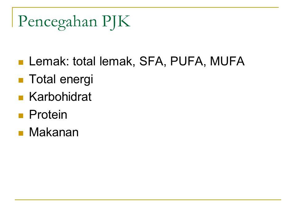 Pencegahan PJK Lemak: total lemak, SFA, PUFA, MUFA Total energi Karbohidrat Protein Makanan