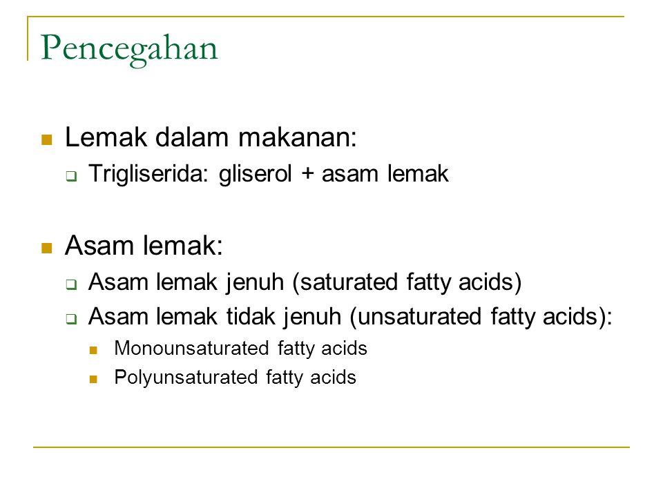 Pencegahan Lemak dalam makanan:  Trigliserida: gliserol + asam lemak Asam lemak:  Asam lemak jenuh (saturated fatty acids)  Asam lemak tidak jenuh