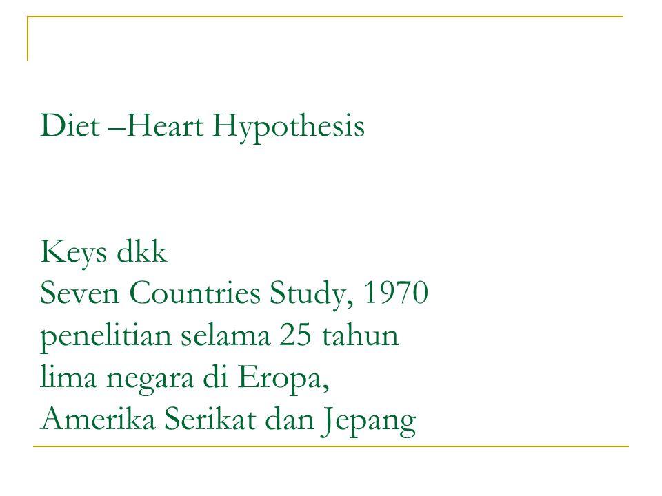 Diet –Heart Hypothesis Keys dkk Seven Countries Study, 1970 penelitian selama 25 tahun lima negara di Eropa, Amerika Serikat dan Jepang