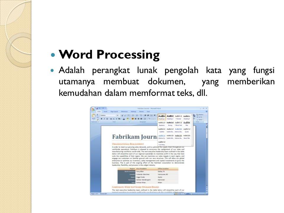 Word Processing Adalah perangkat lunak pengolah kata yang fungsi utamanya membuat dokumen, yang memberikan kemudahan dalam memformat teks, dll.
