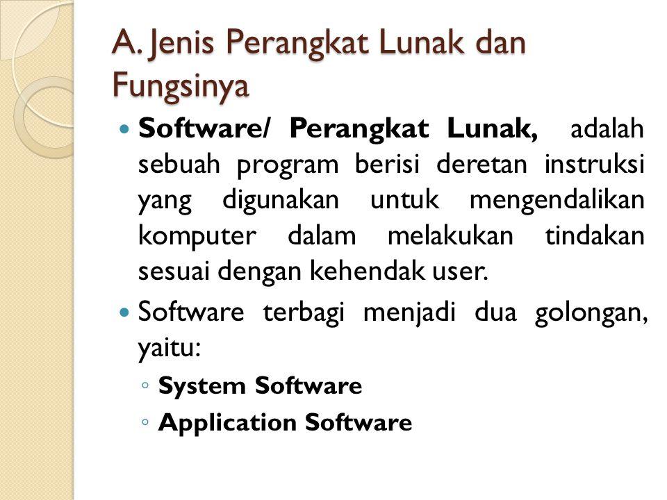 A. Jenis Perangkat Lunak dan Fungsinya Software/ Perangkat Lunak, adalah sebuah program berisi deretan instruksi yang digunakan untuk mengendalikan ko
