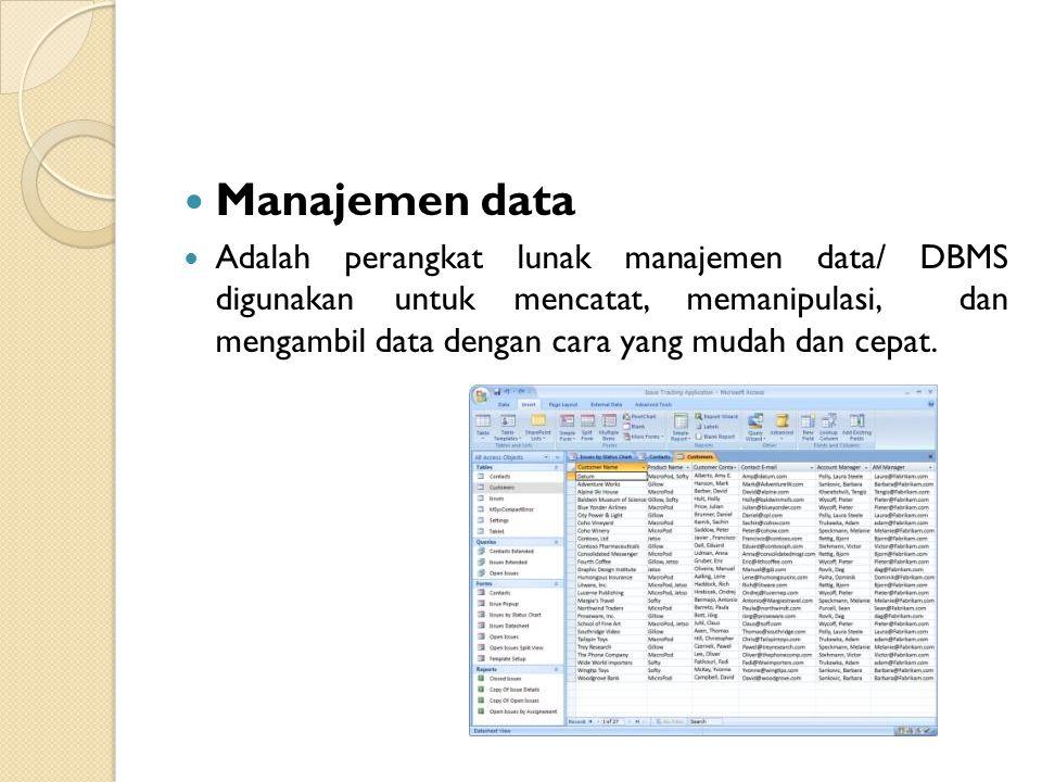 Manajemen data Adalah perangkat lunak manajemen data/ DBMS digunakan untuk mencatat, memanipulasi, dan mengambil data dengan cara yang mudah dan cepat