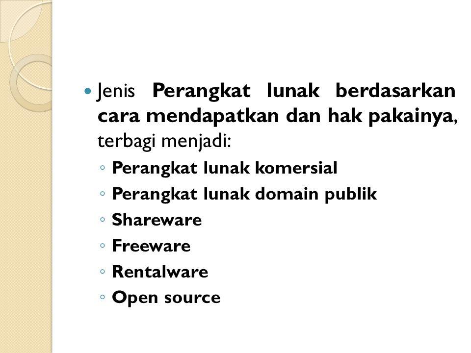 Jenis Perangkat lunak berdasarkan cara mendapatkan dan hak pakainya, terbagi menjadi: ◦ Perangkat lunak komersial ◦ Perangkat lunak domain publik ◦ Sh