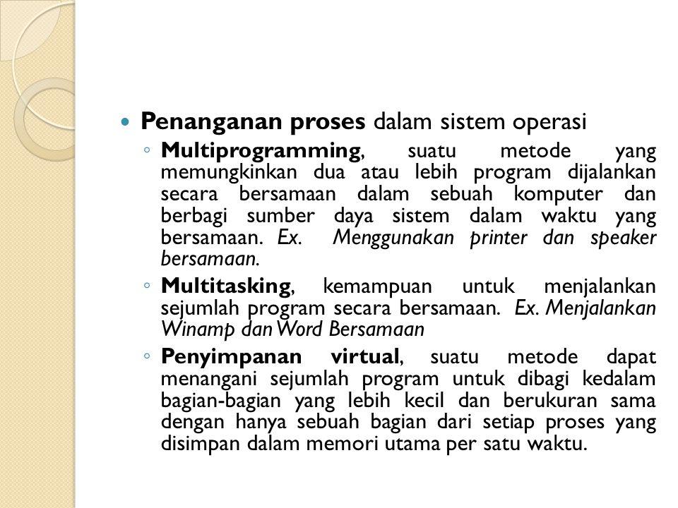 Penanganan proses dalam sistem operasi ◦ Multiprogramming, suatu metode yang memungkinkan dua atau lebih program dijalankan secara bersamaan dalam seb