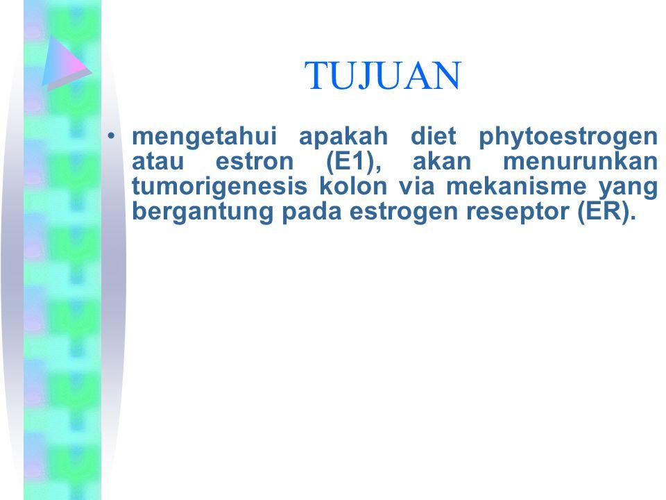 TUJUAN mengetahui apakah diet phytoestrogen atau estron (E1), akan menurunkan tumorigenesis kolon via mekanisme yang bergantung pada estrogen reseptor