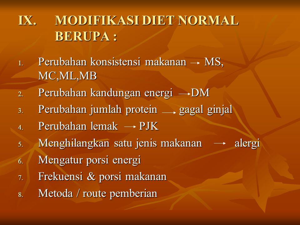 IX.MODIFIKASI DIET NORMAL BERUPA : 1. Perubahan konsistensi makanan MS, MC,ML,MB 2. Perubahan kandungan energi DM 3. Perubahan jumlah protein gagal gi
