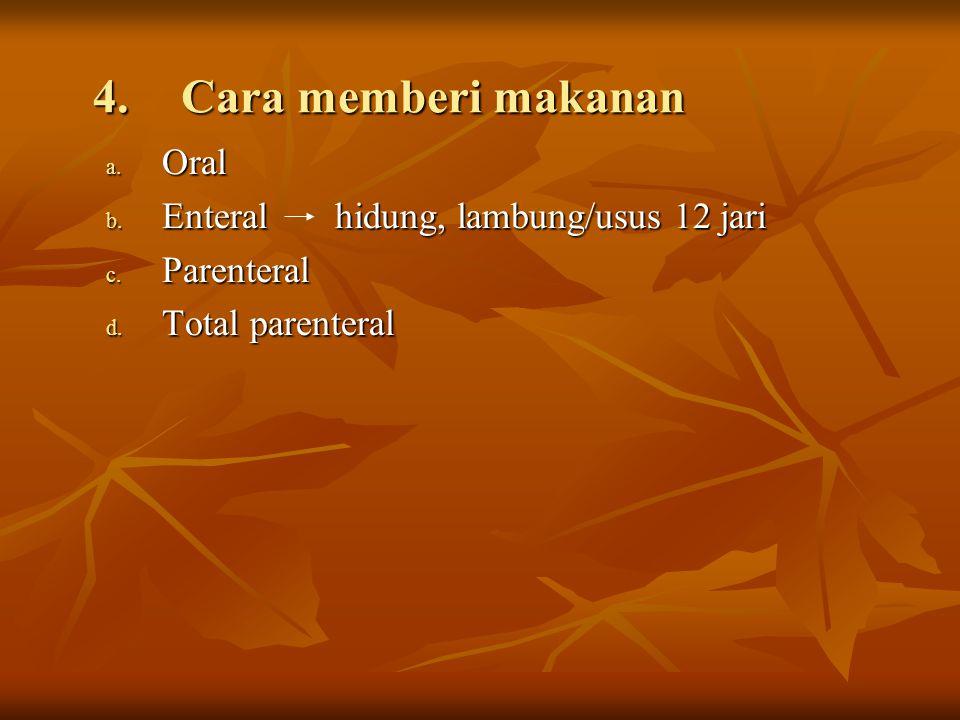 4.Cara memberi makanan a. Oral b. Enteral hidung, lambung/usus 12 jari c. Parenteral d. Total parenteral