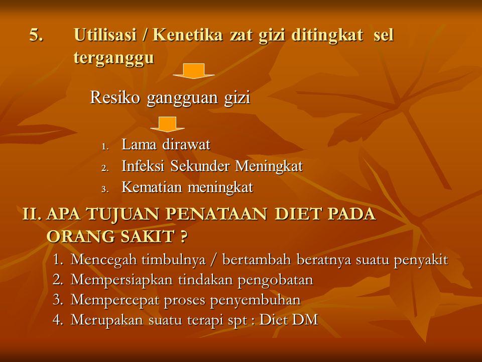 5.Utilisasi / Kenetika zat gizi ditingkat sel terganggu Resiko gangguan gizi Resiko gangguan gizi 1. Lama dirawat 2. Infeksi Sekunder Meningkat 3. Kem