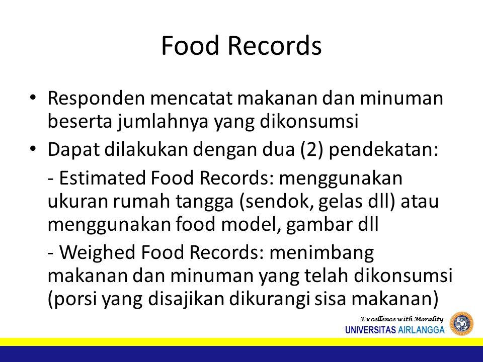 Food Records Responden mencatat makanan dan minuman beserta jumlahnya yang dikonsumsi Dapat dilakukan dengan dua (2) pendekatan: - Estimated Food Records: menggunakan ukuran rumah tangga (sendok, gelas dll) atau menggunakan food model, gambar dll - Weighed Food Records: menimbang makanan dan minuman yang telah dikonsumsi (porsi yang disajikan dikurangi sisa makanan) Excellence with Morality UNIVERSITAS AIRLANGGA