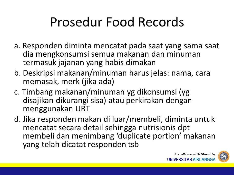 Prosedur Food Records a.