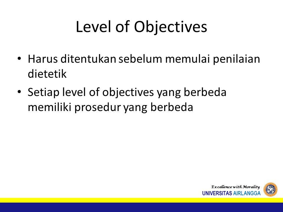 Level of Objectives Harus ditentukan sebelum memulai penilaian dietetik Setiap level of objectives yang berbeda memiliki prosedur yang berbeda Excellence with Morality UNIVERSITAS AIRLANGGA