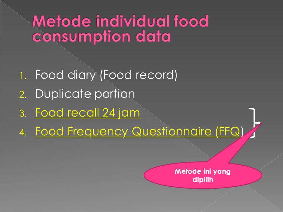 1. Food diary (Food record) 2. Duplicate portion 3. Food recall 24 jam 4. Food Frequency Questionnaire (FFQ) Metode ini yang dipilih